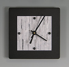 Mini Shelf Clock on Black by Linda Lamore (Painted Metal Clock)