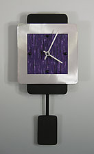 Mini Two Layer Aluminum Clock With Pendulum by Linda Lamore (Painted Clock)