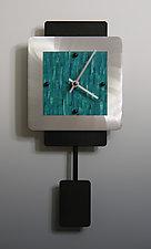 Mini Two Layer Aluminum Clock With Pendulum by Linda Lamore (Painted Clock)