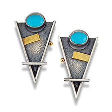 Arrow Post Earrings with Turquoise by Michele LeVett (Silver & Stone Earrings)