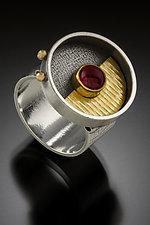 Rhodolite Garnet Saucer Ring by Michele LeVett (Silver & Stone Ring)