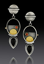 Oval Hanging Pear Earrings by Michele LeVett (Gold, Silver & Stone Earrings)