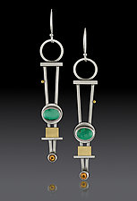 Trellis Earrings with Turquoise by Michele LeVett (Gold, Silver & Stone Earrings)