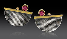 Half-Circle Studs by Michele LeVett (Gold, Silver & Stone Earrings)