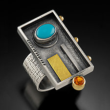 Rectangular Turquoise Ring by Michele LeVett (Gold, Silver & Stone Ring)