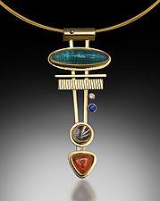Golden Arrow Pendant by Michele LeVett (Gold & Stone Necklace)