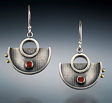 Garnet Half-Circle Dangles by Michele LeVett (Silver & Stone Earrings)