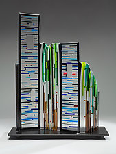 Cityscape II by Ernest Porcelli (Art Glass Sculpture)