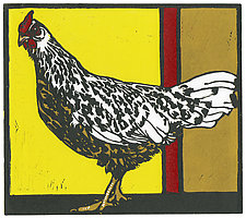 Chicken Chicken by Barbara  Stikker (Linocut Print)