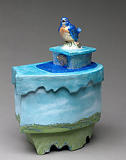 Blue Bird Happiness Box by Byron Williamson (Ceramic Sculpture)