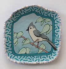 Tufted Titmouse by Byron Williamson (Ceramic Wall Sculpture)