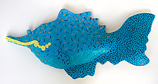 Yellow Lip Dasher by Byron Williamson (Ceramic Wall Sculpture)