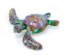 Solo Sea Turtle by Jeremy Sinkus (Art Glass Sculpture)