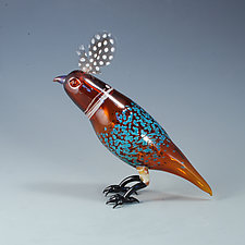 Bird of a Feather in Amber by Jeremy Sinkus (Art Glass Sculpture)