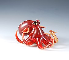 Ruby Octopus by Jeremy Sinkus (Art Glass Sculpture)