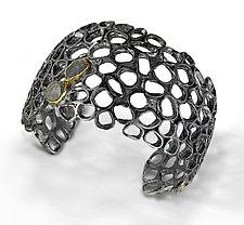 Urban Beehive II Cuff by Shauna Burke (Gold, Silver & Stone Bracelet)
