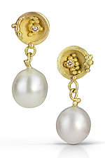 Nest Drops by Shauna Burke (Gold, Stone & Pearl Earrings)