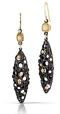 Deconstructed Deco II by Shauna Burke (Gold, Silver & Stone Earrings)