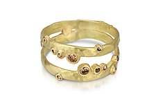 Meandering Line Double Band by Shauna Burke (Gold & Stone Ring)