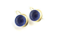 Gold Whirlpool Drop Earrings in Blue by Michal Lando (Nylon Earrings)