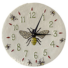 Honeybee Ceramic Wall Clock in White Glaze Background by Beth Sherman (Ceramic Clock)