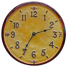Little Wings Ceramic Wall Clock in Red and Yellow Glaze by Beth Sherman (Ceramic Clock)