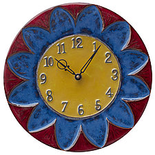 Sun Design Ceramic Wall Clock in Maroon, Sapphire, and Yellow by Beth Sherman (Ceramic Clock)