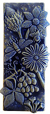 Botanical and Bugs Ceramic Tile in Night Sky by Beth Sherman (Ceramic Wall Art)