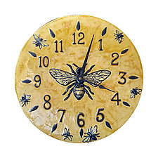 Honeybee Wall Clock in Light Yellow Glaze by Beth Sherman (Ceramic Clock)