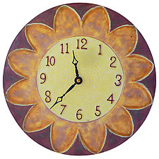 Sunburst Ceramic Wall Clock in Mauve, Cream, and Yellow by Beth Sherman (Ceramic Wall Art)