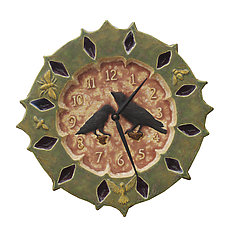 Ravens Ceramic Wall Clock in Moss Agate and Black Cherry by Beth Sherman (Ceramic Clock)
