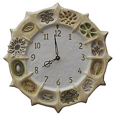 Wheel of Life Ceramic Wall Clock in Cream & White by Beth Sherman (Ceramic Clock)