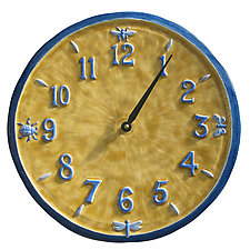 Little Wings Ceramic Wall Clock in Blue & Yellow by Beth Sherman (Ceramic Clock)