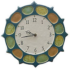 Nautical Wheel Clock in Blue Jade, Orange, Yellow & Green Glaze by Beth Sherman (Ceramic Clock)
