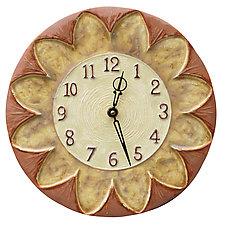 Sunflower Ceramic Wall Clock in Salmon, Cream & Yellow Glazes by Beth Sherman (Ceramic Clock)