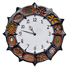 Seed Pods Ceramic Wall Clock in Steel Glaze & Terracotta Clay by Beth Sherman (Ceramic Clocks)