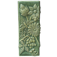 Botanical Tall Ceramic Tile in Patina Glaze by Beth Sherman (Ceramic Wall Sculpture)