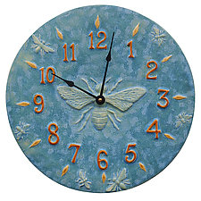 Honeybee Ceramic Wall Clock in Turquoise Glaze by Beth Sherman (Ceramic Clock)