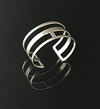 Linked Cuff Bracelet in Chrome by Melissa Stiles (Steel Bracelet)