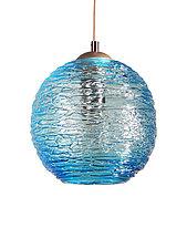 Spun Glass Globe Pendant Light in Aqua by Rebecca Zhukov (Art Glass Pendant Lamp)