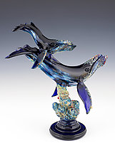 Humpback and Baby by Paul Labrie (Art Glass Sculpture)