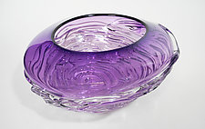 Small Purple Ripple Wave Bowl by Mariel Waddell and Alexi Hunter (Art Glass Bowl)