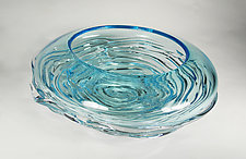 Small Aqua Ripple Wave Bowl by Mariel Waddell and Alexi Hunter (Art Glass Bowl)