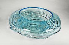 Small Aqua Ripple Wave Bowl by Mariel Waddell and Alexi Hunter (Art Glass Bowl)