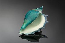 Deep Azure Sea Shells by Avolie Glass (Art Glass Sculpture)