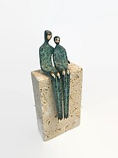 I Love You in Green Patina by Yenny Cocq (Bronze Sculpture)