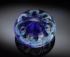 Sea Urchin Paperweight Cobalt Blue by Jacob Pfeifer (Art Glass Paperweight)