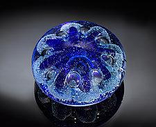 Sea Urchin Paperweight Blue by Jacob Pfeifer (Art Glass Paperweight)