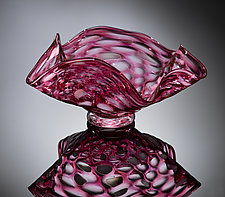 Pink Scallop Bowl by Jacob Pfeifer (Art Glass Bowl)
