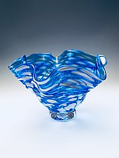 Scallop Bowl in Cerulean Blue by Jacob Pfeifer (Art Glass Bowl)